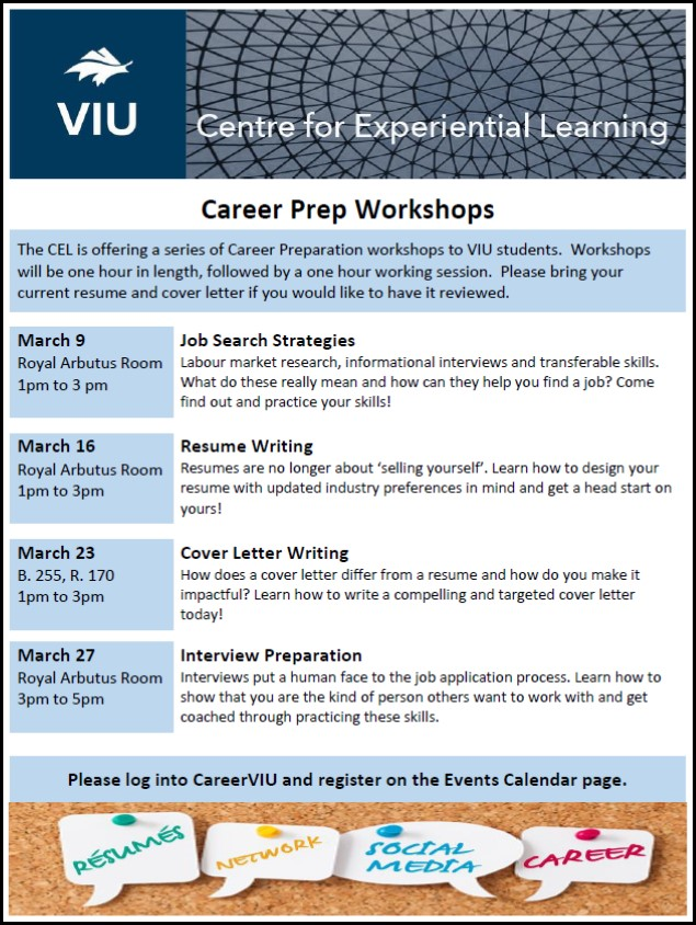 Cel Career Prep Workshop  Resume Writing  Events  Viu
