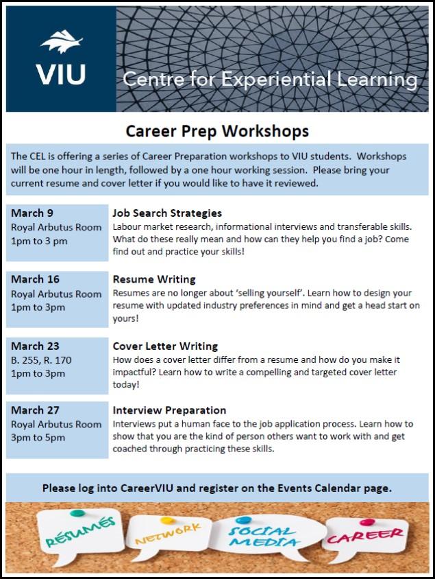 cel career prep workshop resume writing events viu - Impactful Resume Update
